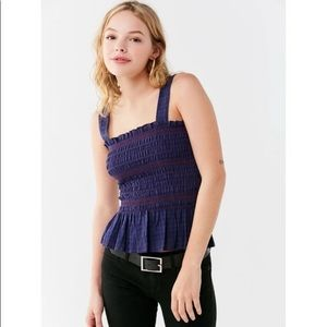 Urban outfitters blue & red smocked tank top